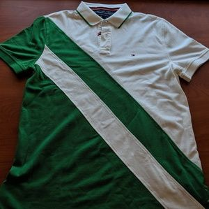 Green and White Large Tommy Bahama Polo Shirt
